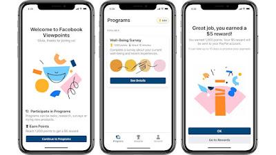 O aplicativo Facebook Viewpoints pagará por responder a pesquisas