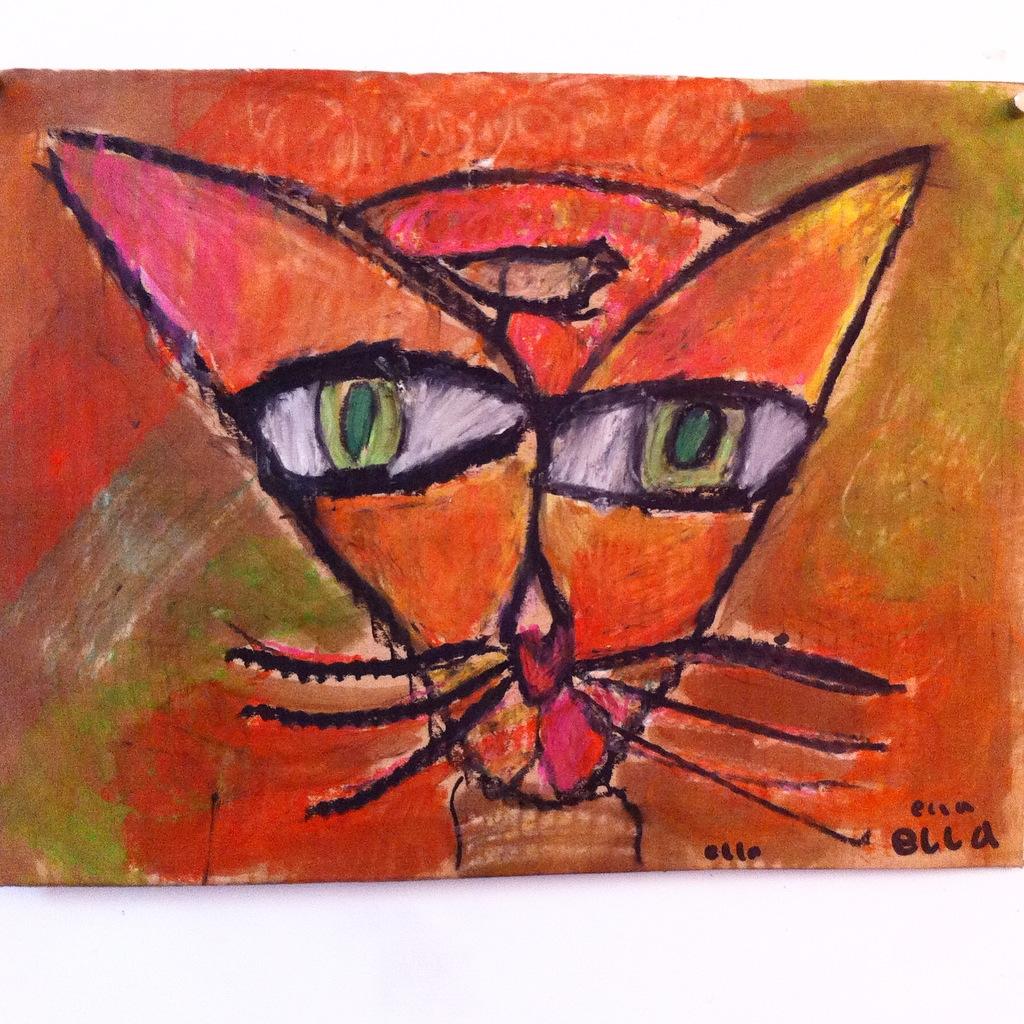 Art Room Britt Paul Klee Cat And Bird In Oil Pastel