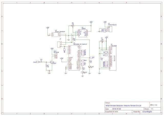 Detector de humo con Arduino diagrama esquemático EasyEDA.