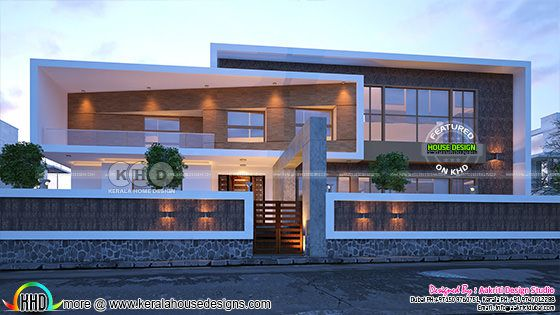 Box type flat roof contemporary home design