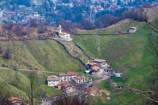 View of the alpine village of Salmezza from Corna Bianca.