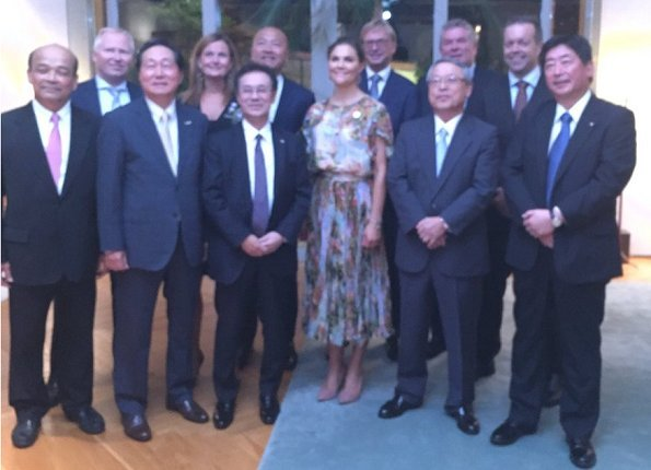Crown Princess Victoria wore Jennifer Blom Frida Dress for Keystone Dialogue in Japan. Sweden fashion Label