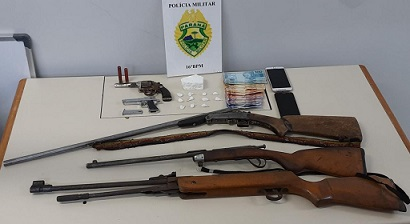 Guarapuava - PR: Em menos de 24 horas policiais militares do 16° BPM logram êxito em três situações de Trafico de Drogas e  Porte/Posse irregular de Armas de Fogo
