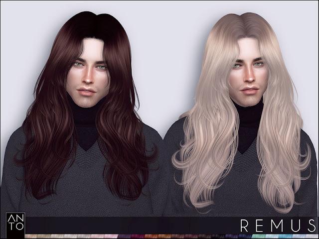 Anto - Remus (Hairstyle) Анто - Ремус (Прическа) для The Sims 4 22 цвета работают со шляпами, гладкая оснастка включает карту теней, Автор: Anto