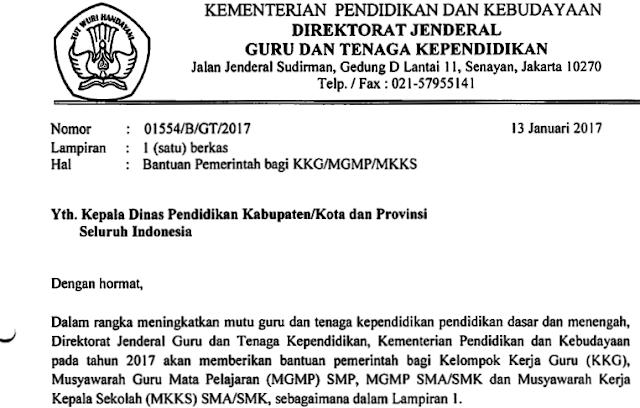 Hasil gambar untuk Surat Edaran Ditjen GTK Tentang Bantuan KKG/MGMP/MKKS Tahun 2017