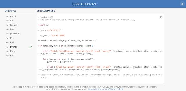 แปลง Regular Expression ที่เราเขียนออกมาเป็นโค้ดภาษา Python