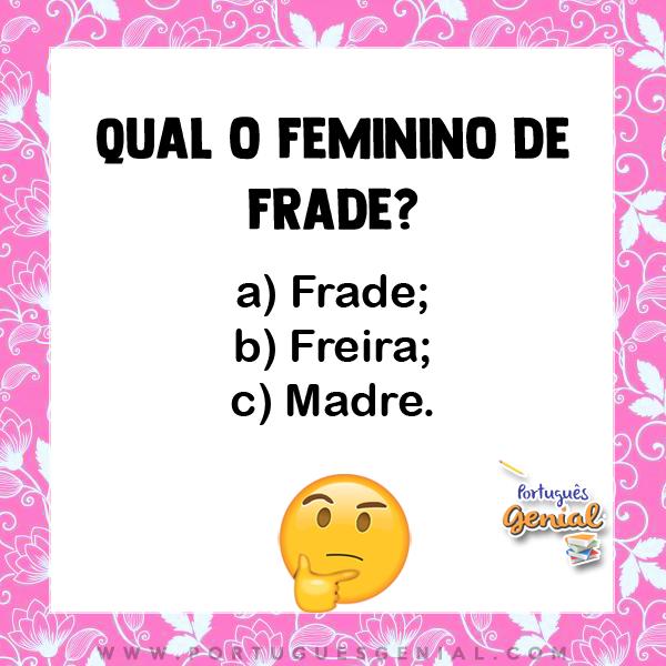 Feminino de frade - Qual o feminino de?
