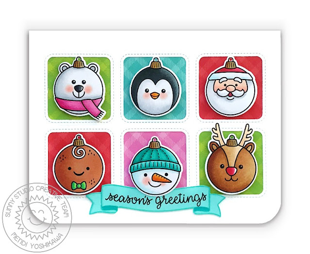 Sunny Studio Season's Greetings Critter Christmas Ornaments Grid Style Card (using Deck the Halls, Holiday Express & Banner Basics Stamps, Window Trio Square Dies and All Is Bright Paper)