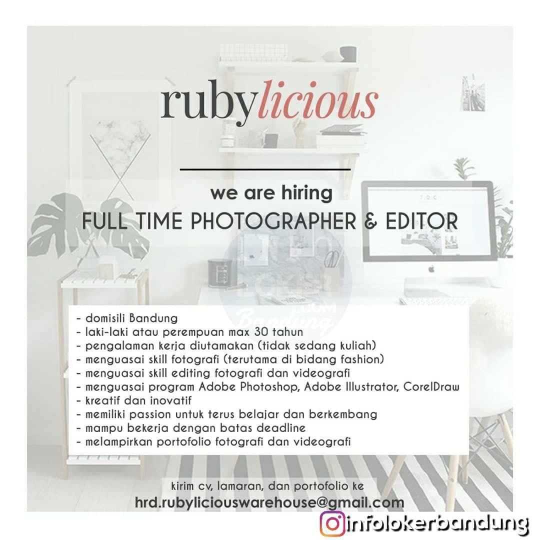 Lowongan Kerja Full Time Photographer & Editor Rubylicious Bandung Desember 2018