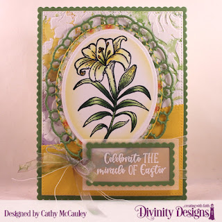 Divinity Designs Stamp Set: Miracle of Easter, Mixed Media Stencils: Flourishes, Custom Dies: Pierced Rectangles, Scalloped Rectangles, Ovals, Scalloped Ovals, Layered Lacey Ovals, Leafy Edged Borders