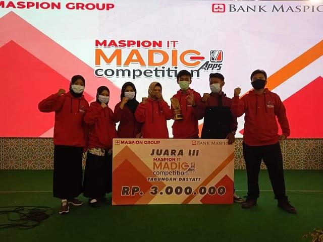 Juara 3 MADIG APPS. COMPETITION 2020  yang DISELENGGARAKAN OLEH MASPION IT TINGKAT NASIONAL