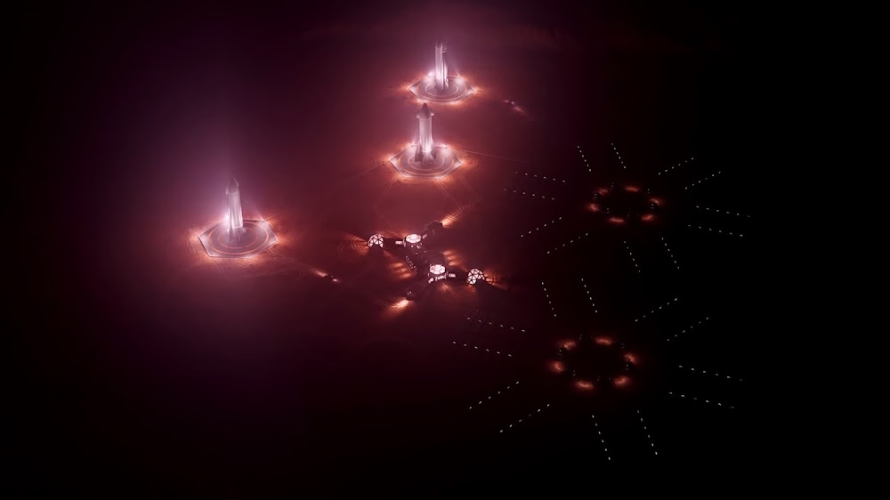 SpaceX Starships at Mars Base Alpha (night) by Konstantin Ermolaev