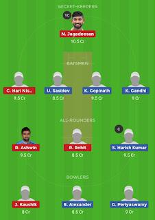 Dream11 team for DIN vs CHE Qualifier 1 Match | Fantasy cricket tips | Playing 11 | TNPL dream11 Team | dream11 prediction |