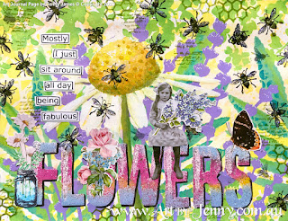 flowers and bees with lavender and leaves art journal page by Jenny James of Australia