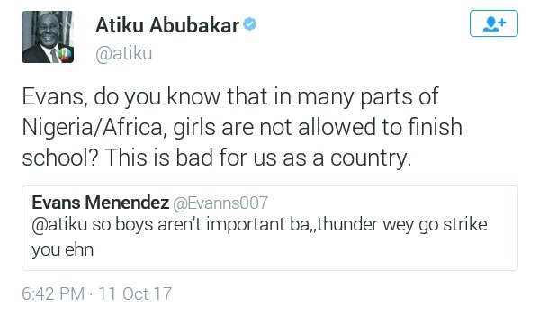 Atiku Abubakar politely replies man who called on thunder to fire him