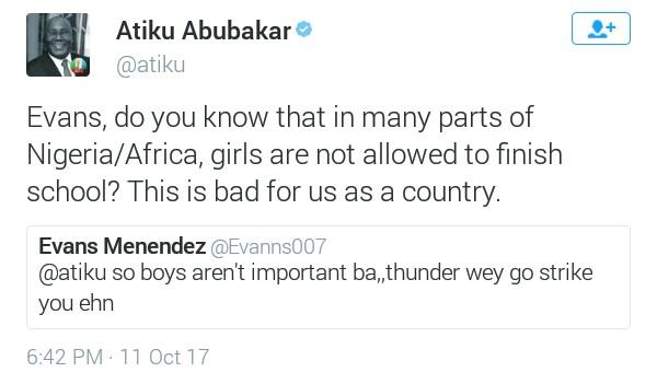 Atiku Abubakar politely replies man who called on thunder to fire him