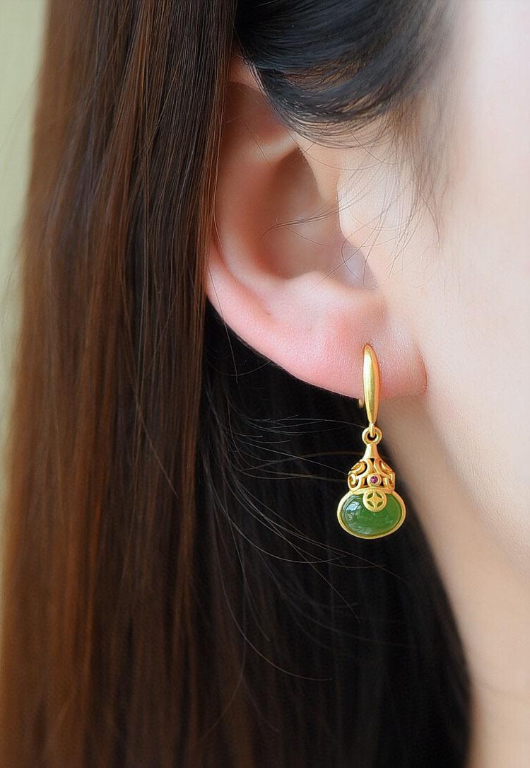鎏金工藝俄羅斯碧玉葫蘆 925純銀耳環