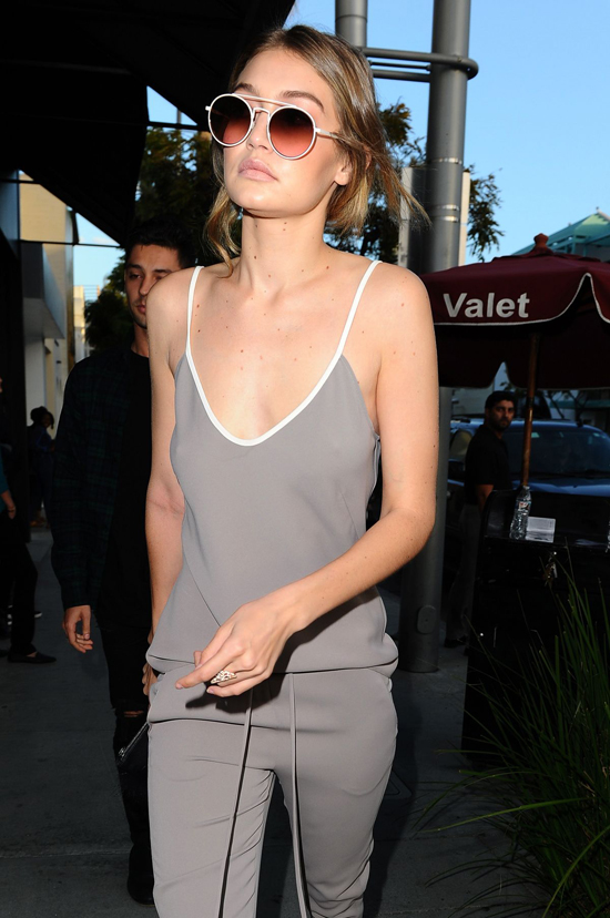 Gigi Hadid's Neutral-Toned Look in Beverley Hills