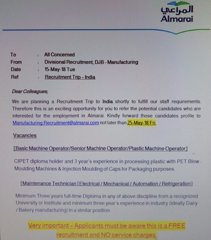AL Marai Latest Direct Recruitment from India with Free Visa and Air