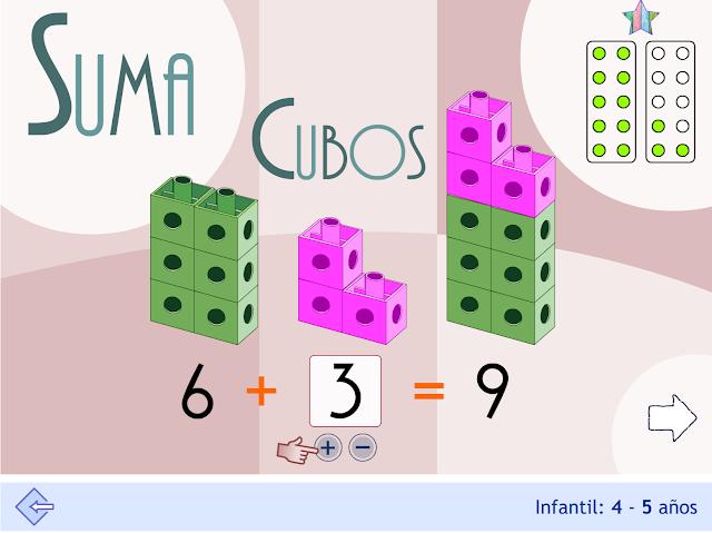 Suma con cubos encajables. Infantil.
