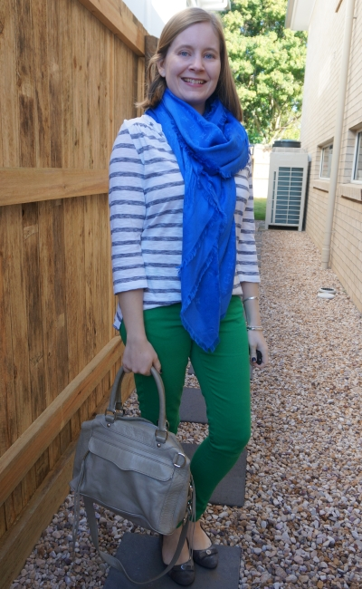 green skinny jeans with striped henley and cobalt Louis Vuitton shawl SAHM spring style | away from blue