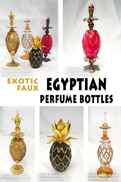 Exotic Faux Egyptian Perfume Bottles made from resin and an assortment of bead caps and jewellery findings.