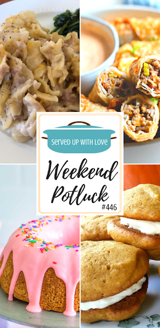 Weekend Potluck featured recipes include Tuna Noodle Casserole, Donut Cake, Pumpkin Globs, Cheeseburger Egg Rolls, and more.