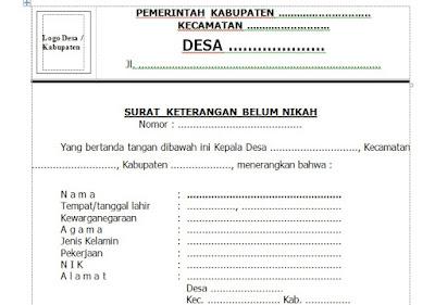 Contoh Surat Keterangan Belum Menikah Dari Desa [Terbaru]