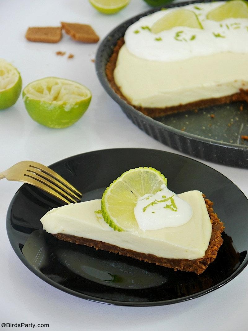 Recette de Tarte Sans Cuisson au Citron Vert et Speculoos - Délicieuse, rapide et facile à préparer, tarte au citron vert a seulement 5 ingrédients!