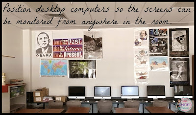 Classroom Decorating Tip: Position desktop computers so the screens can be monitored from anywhere in the classroom.