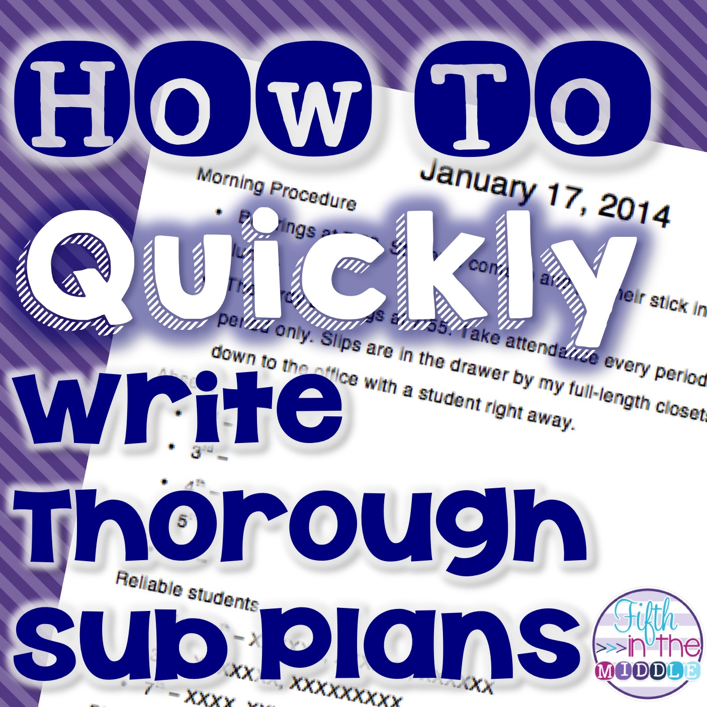 Exceptional Spending Some Time Creating A Sub Plan Template Will Save You Time And  Energy On Days