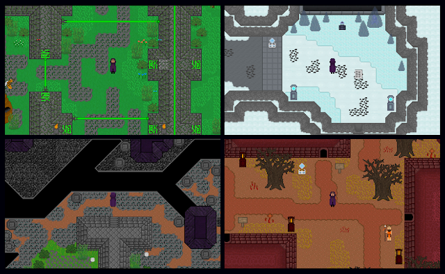 Four game screenshots including: forest ruins, ice mountain, ravine, and mountain city.