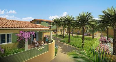 Perspective 3d promotion logements terrasses jardin palmiers