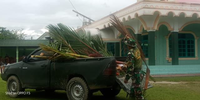 Satgas TMMD Ke-112 Kodim 0207/Simalungun Selain Bangun Bendungan Air Juga Laksanakan Pembersihan Rumah Ibadah