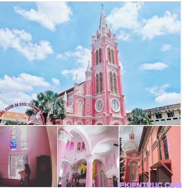 Các hình chụp của nhà thờ màu hồng Tân định