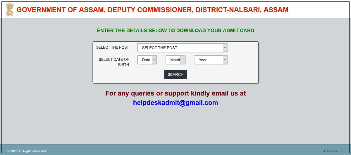 DC Office Nalbari Admit Card 2020: Junior Assistant, Driver, Peon, Chowkidar, Jarikarak