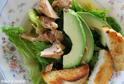 What A Dish!: Buttered Crouton Salad with Avocado & Smoked Salmon