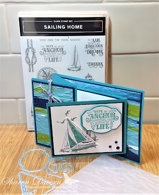 Rhapsody in craft, Fancy Fold,Double Open Joy Fold Card, Sailing Home, Bermuda Bay, Artistry Bloom DSP, Old World Paper 3D EF, Stampin' Up! 2020-21 Catalogue