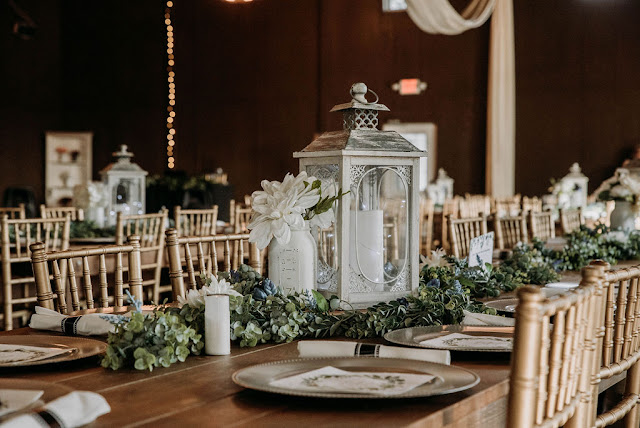 wedding reception rustic centerpiece lanterns