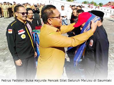 Petrus Fatlolon Buka Kejurda Pencak Silat Seluruh Maluku di Saumlaki