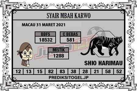Syair Mbah Karwo Togel Macau Rabu 31 Maret 2021
