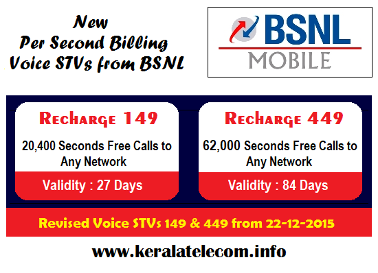 BSNL revises the validity of Per Second Voice STVs - 149 & 449 from 22nd December 2015 onwards