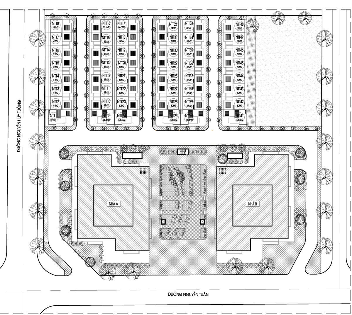 Mặt bằng tổng thể dự án Thống Nhất Complex 82 Nguyễn Tuân