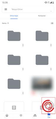 1. Langkah pertama untuk mengunggah file ke Google Drive lewat aplikasi yaitu silakan kalian buka aplikasi Google Drive nya terlebih dahulu lalu pilih ikon tambah pada pojok kanan bawah