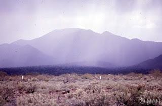 Daisy Mountain in the rain 1985. Copyright Mark A. Hicks