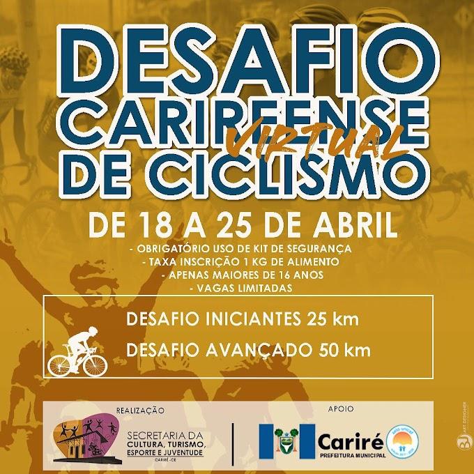 "De 18 a 25 de abril será realizado o ""1º Desafio Carireense Virtual  de Ciclismo"", a partir dos 16 anos"