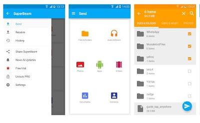 تطبيق SuperBeam لنقل الملفات مابين الأندرويد والآيفون والكمبيوتر