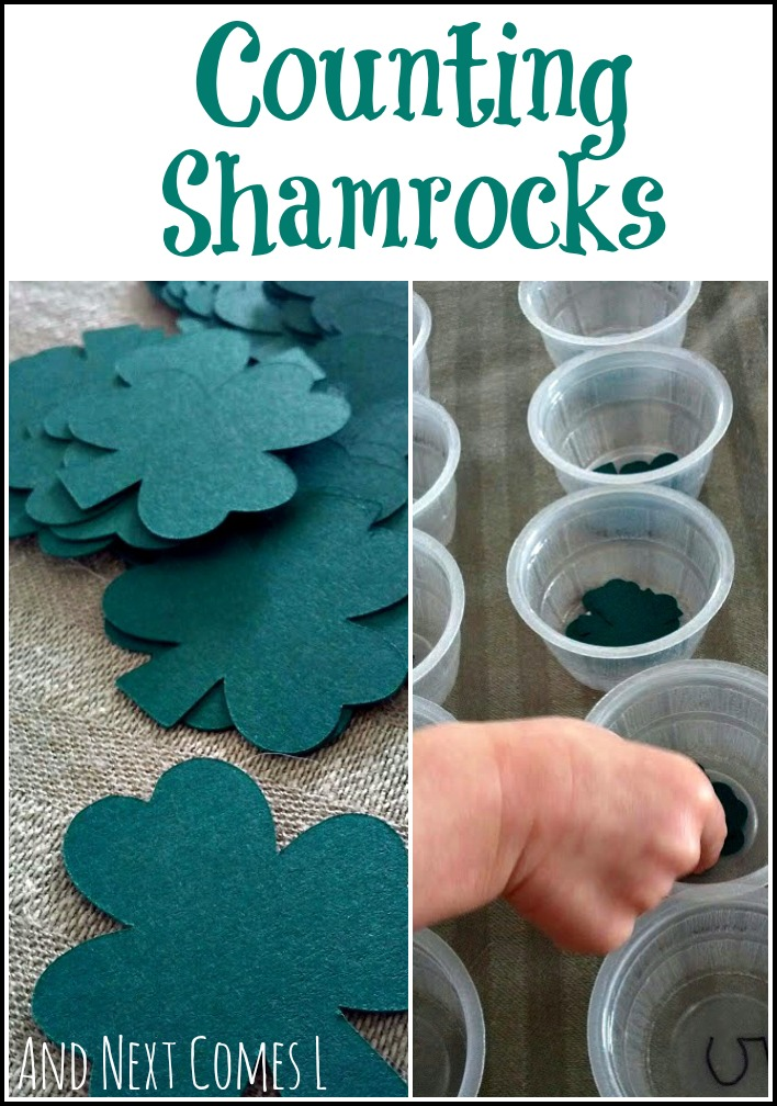 Counting shamrocks for St. Patrick's Day - three different variations in this simple math activity from And Next Comes L