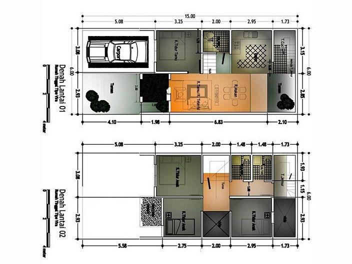 denah rumah 6x8 meter 2 lantai inspiratif