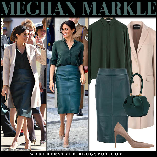 Meghan Markle in green leather pencil skirt hugo boss, green shirt and beige coat emporio armani royal family fashion october 3